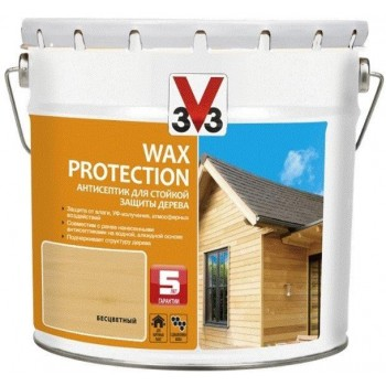 V33 Wax Protection антисептик для стойкой защиты дерева с добавлением воска 9 л