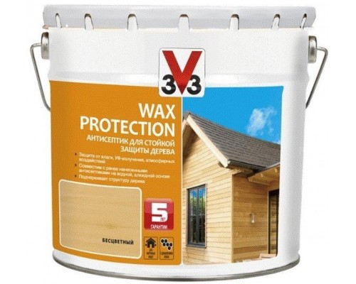 АНТИСЕПТИК (пропитка/лазурь) ДЛЯ ДЕРЕВА WAX PROTECTION 3V3 (V33)  9 л