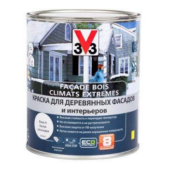 Краска V33 Facade Bois Climats Extremes для деревянных фасадов и интерьеров 0,9 л белая база С