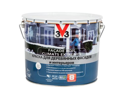 Краска V33 Facade Bois Climats Extremes для деревянных фасадов и интерьеров 9 л белая база А