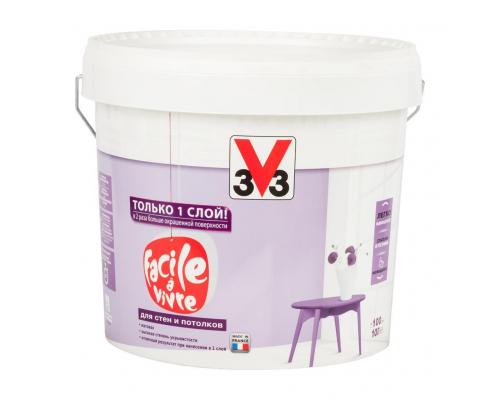 Краска для стен и потолков FACILE LA VIVRE 3V3 (V33) 10 л. Матовая латексная