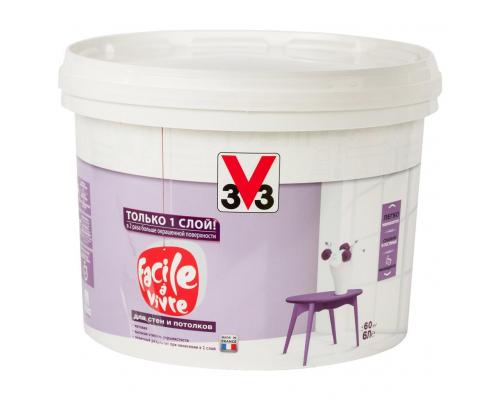 Краска для стен и потолков FACILE LA VIVRE 3V3 (V33) 6 л. Матовая латексная