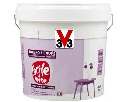 Краска для стен и потолков FACILE LA VIVRE 3V3 (V33) 2.5 л. Матовая латексная