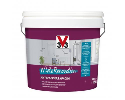 Краска для стен и потолков WHITE RENOVATION 3V3 0.9 л Латексная
