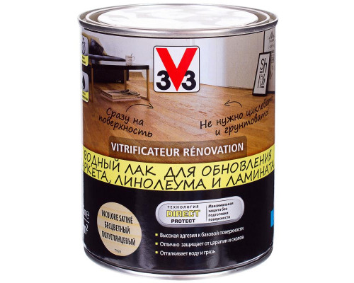 Водный лак RENOVATION 3V3 (V33) для паркета, ламината, линолиума и дерева  2.5 л