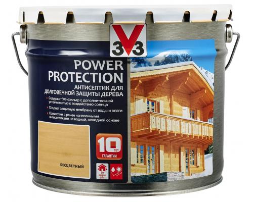Антисептик V33 Power Protection для долговечной защиты дерева 9 л