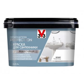 Белая краска для сантехники с защитным покрытием V33 Renovation